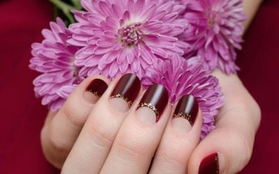 Female hands with dark red nail design holding flowers.