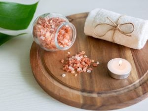 Himalayan salt and a candle